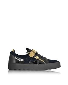 Navy Velvet and Patent Leather Low Top Men's Sneaker - Giuseppe Zanotti