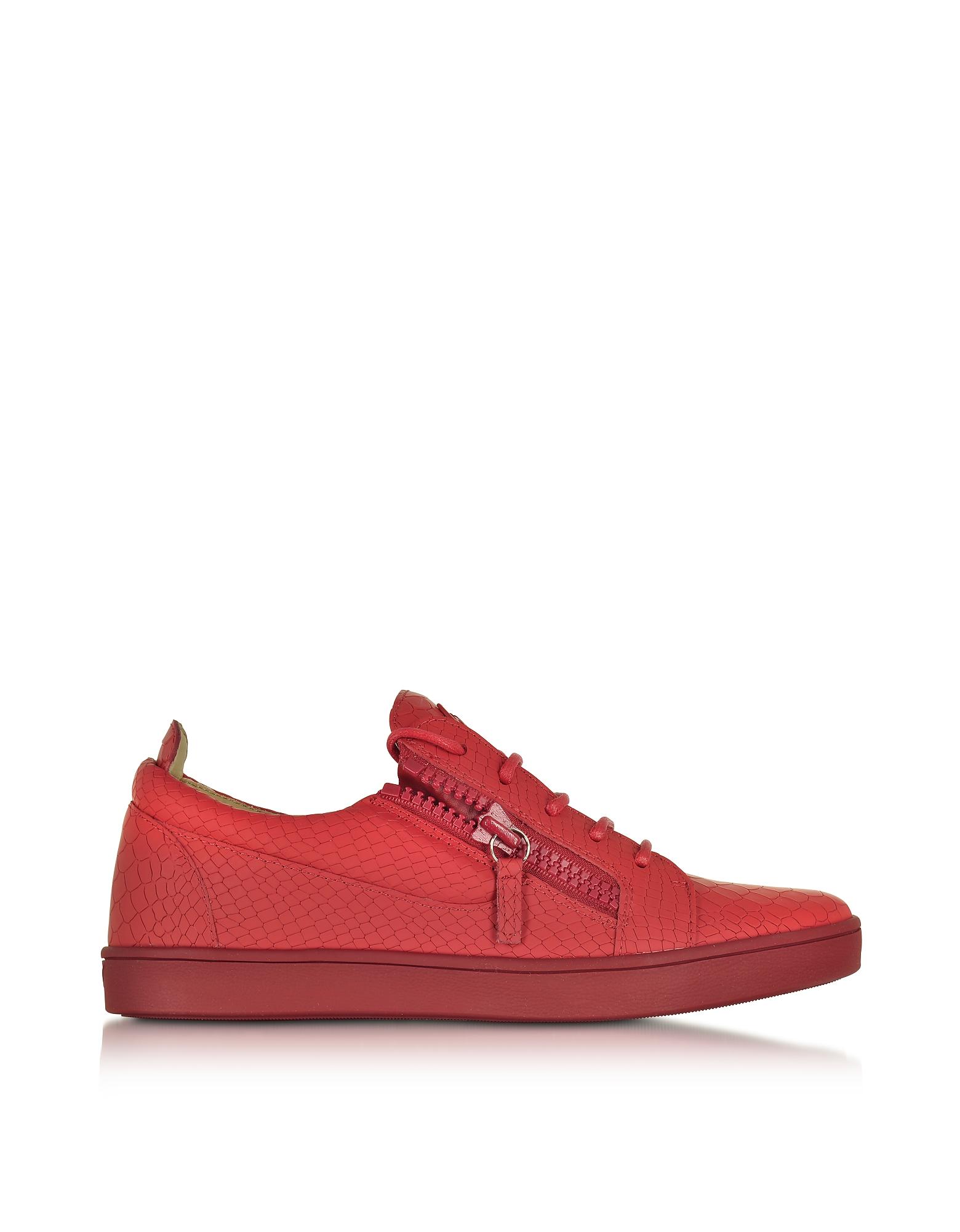 Giuseppe Zanotti Низкие Красные Мужские Кроссовки из Кожи под Крокодиловую