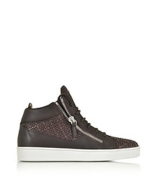 Dark Brown Leather and Lizard Print High Top Men's Sneaker - Giuseppe Zanotti