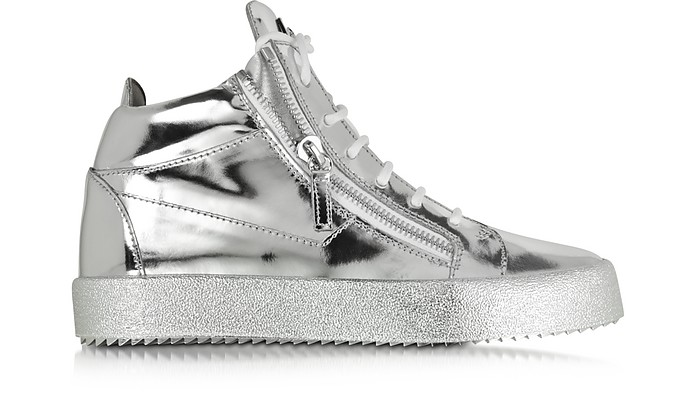 Vegas Shooting Silver Metallic Patent Leather High Top Sneaker - Giuseppe Zanotti