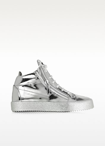 Vegas Shooting Silver Metallic Patent Leather High Top Sneaker - Giuseppe Zanotti