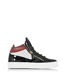 Kriss Mid-Top Color Block Leather Men's Sneaker w/Red Logo - Giuseppe Zanotti
