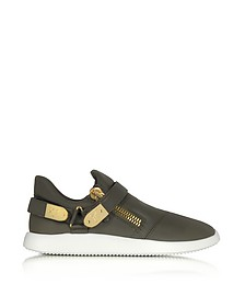 Military Green Gommato Leather Low Top Men's Sneakers - Giuseppe Zanotti