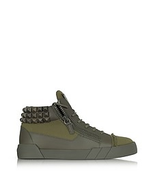 Commando Sneaker in Pelle Military Green con Borchie - Giuseppe Zanotti