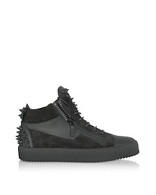 Black Suede and Leather Studded Men's Sneakers - Giuseppe Zanotti