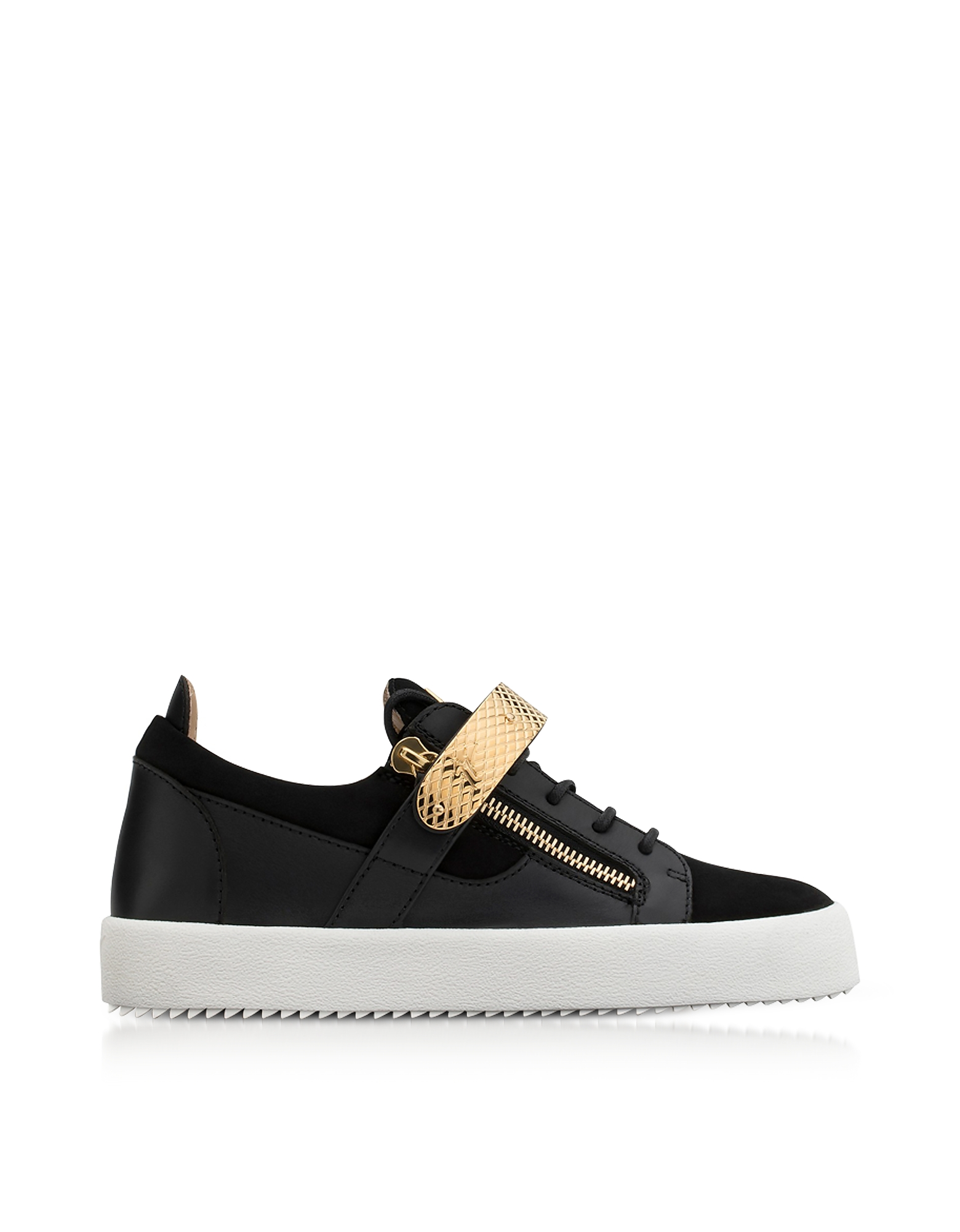 Giuseppe Zanotti Shoes, Black Leather and Suede Archer Men's Sneakers
