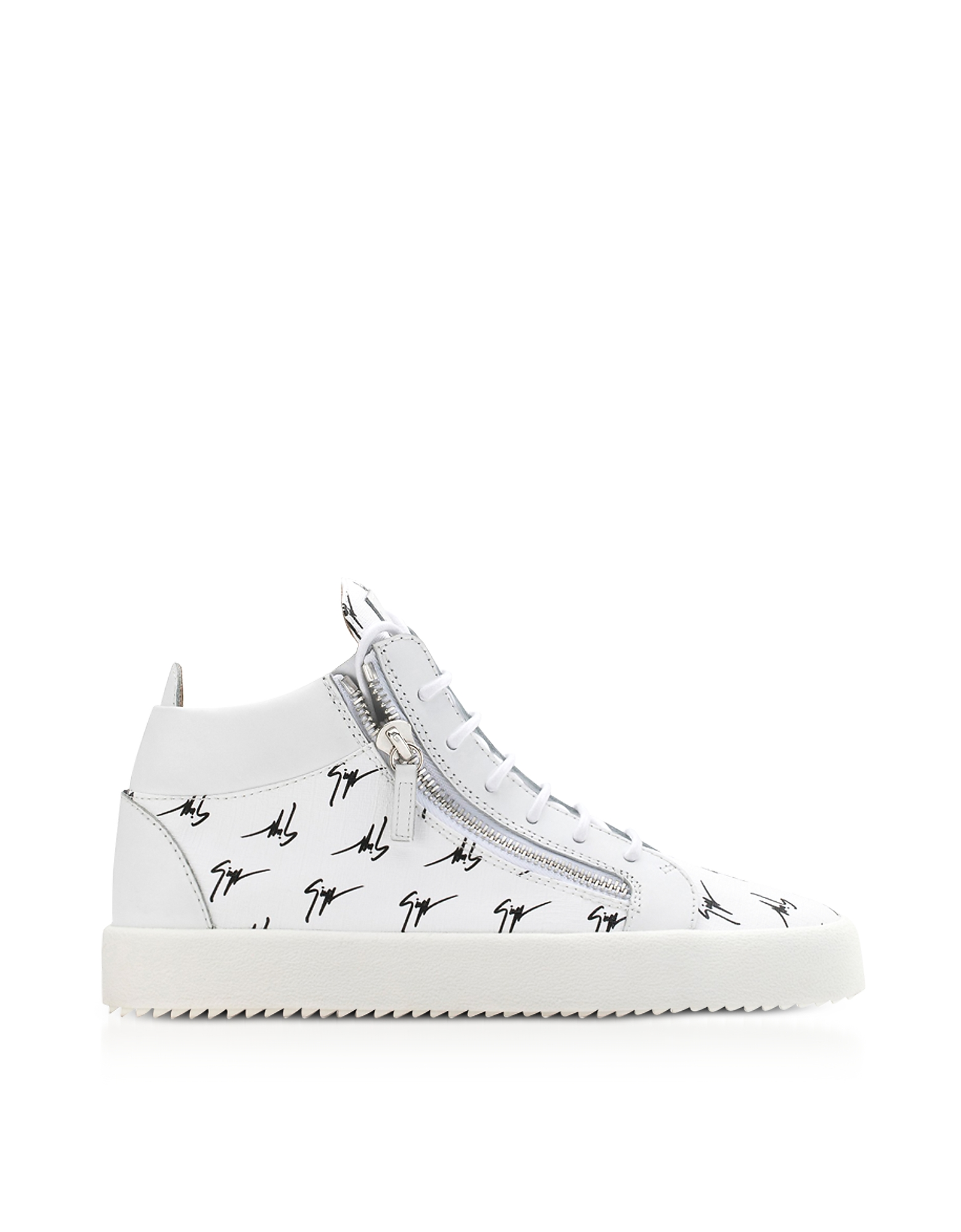 Giuseppe Zanotti Shoes, White Leather Mid-Top The Signature Men's Sneakers