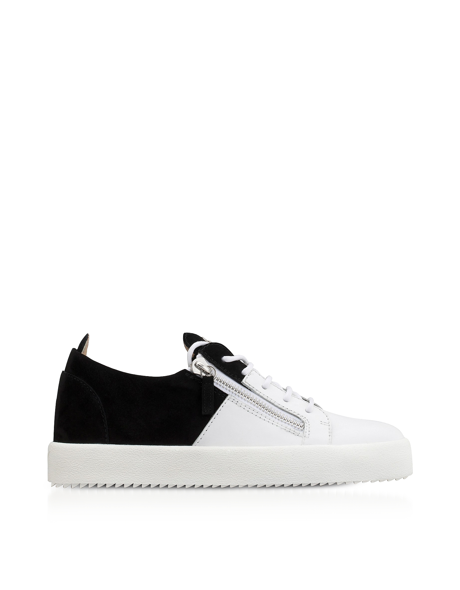 Giuseppe Zanotti Shoes, White Leather and Black Suede Double Men's Sneakers