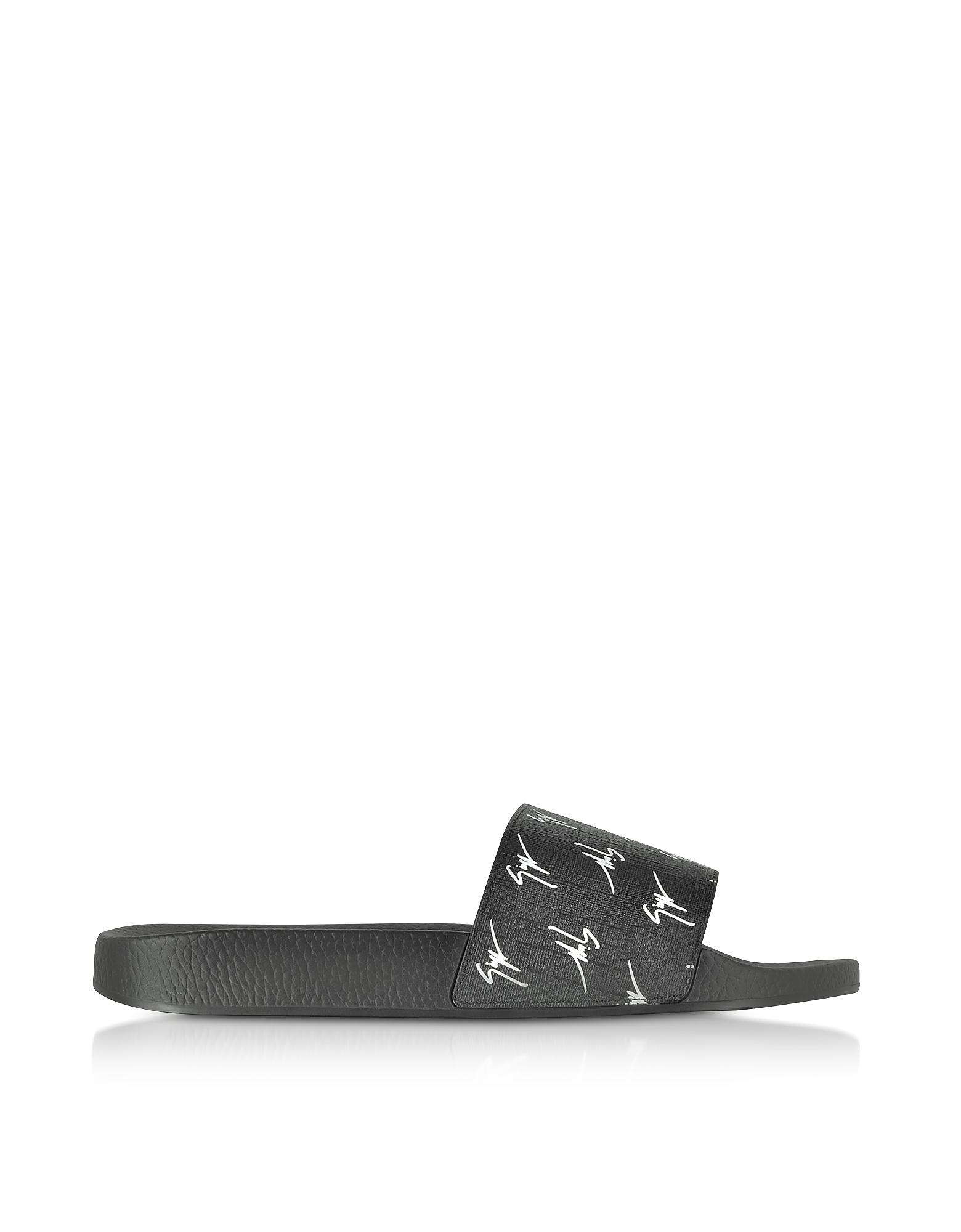 Черные Сандалии для Бассейна с Микро Логотипами
