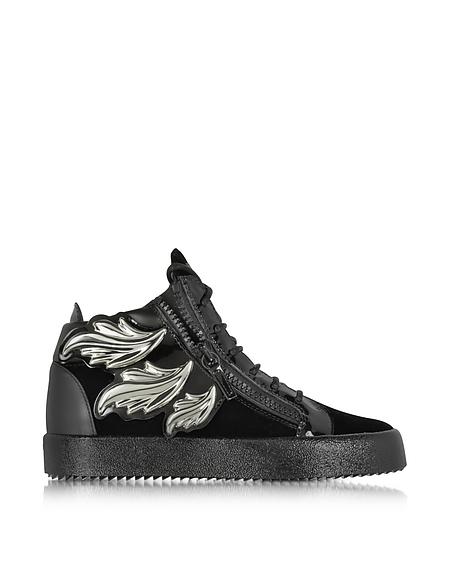 Foto Giuseppe Zanotti Sneaker da Uomo Cruel in Pelle e Velluto Nero con Fiamme Scarpe
