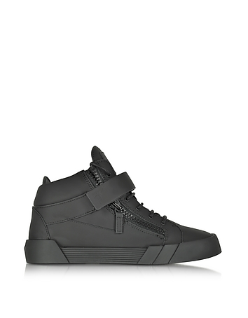Black Leather High Top Sneaker