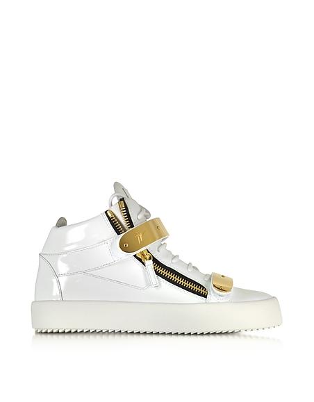 Foto Giuseppe Zanotti Sneaker da Uomo in Vernice High Top con Zip e Fibbie Oro Scarpe