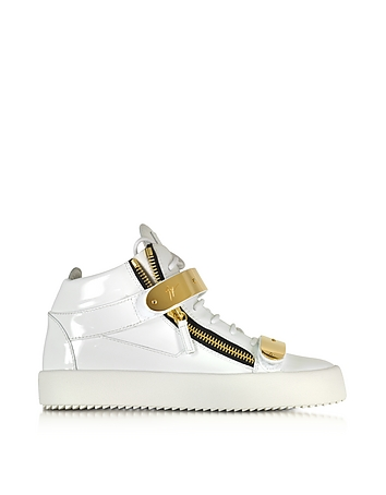 White Patent Leather High Top Sneaker