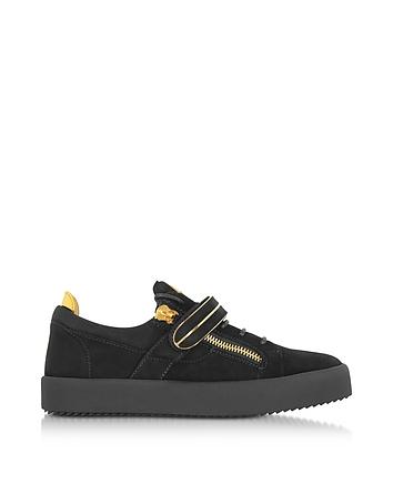 Giuseppe Zanotti - Black Suede Low Top Men's Sneakers