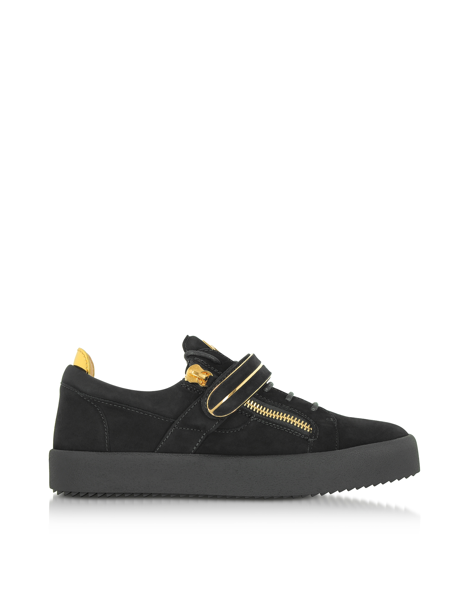 Giuseppe Zanotti Shoes, Black Suede Low Top Men's Sneakers
