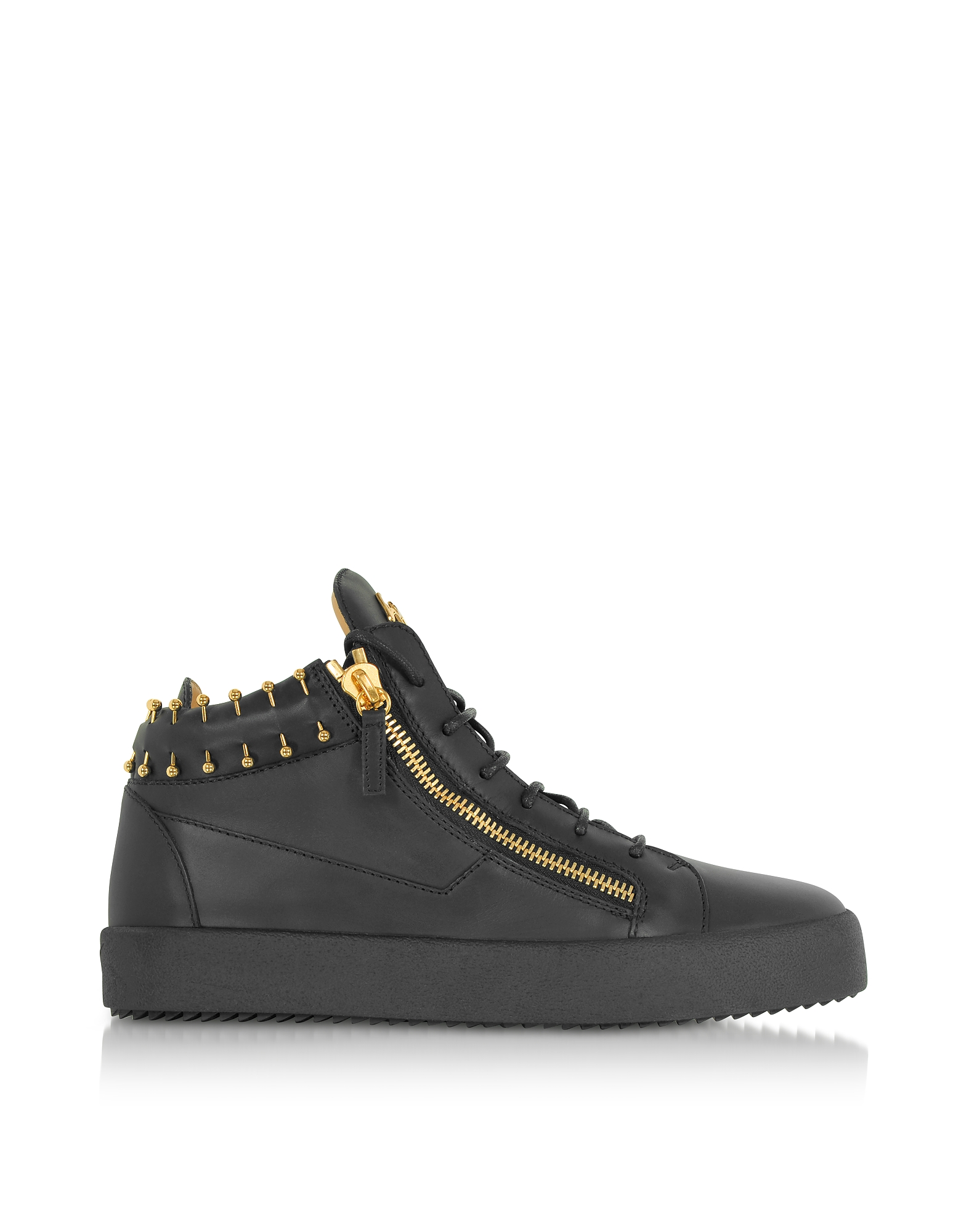 Giuseppe Zanotti Shoes, Black Leather Mid-Top Men's Sneakers w/Golden Metal Piercings