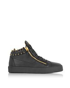 Черные Кожаные Мужские Кроссовки с Золотистым Пирсингом - Giuseppe Zanotti