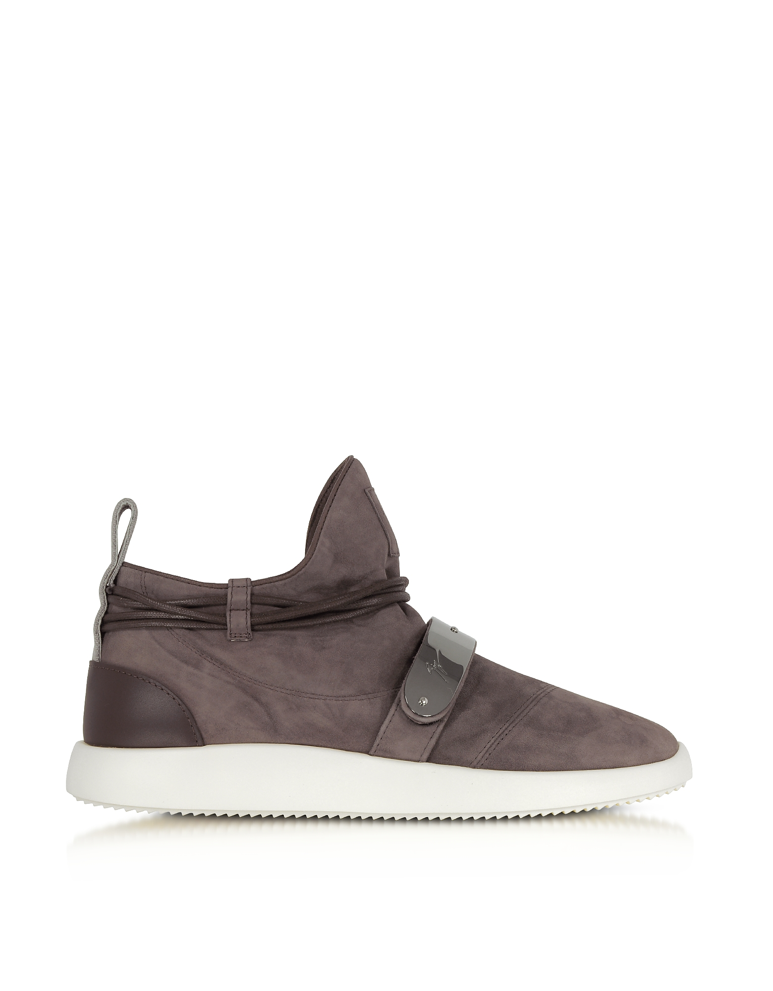 Giuseppe Zanotti Shoes, Brown Suede Mid-Top Men's Sneakers