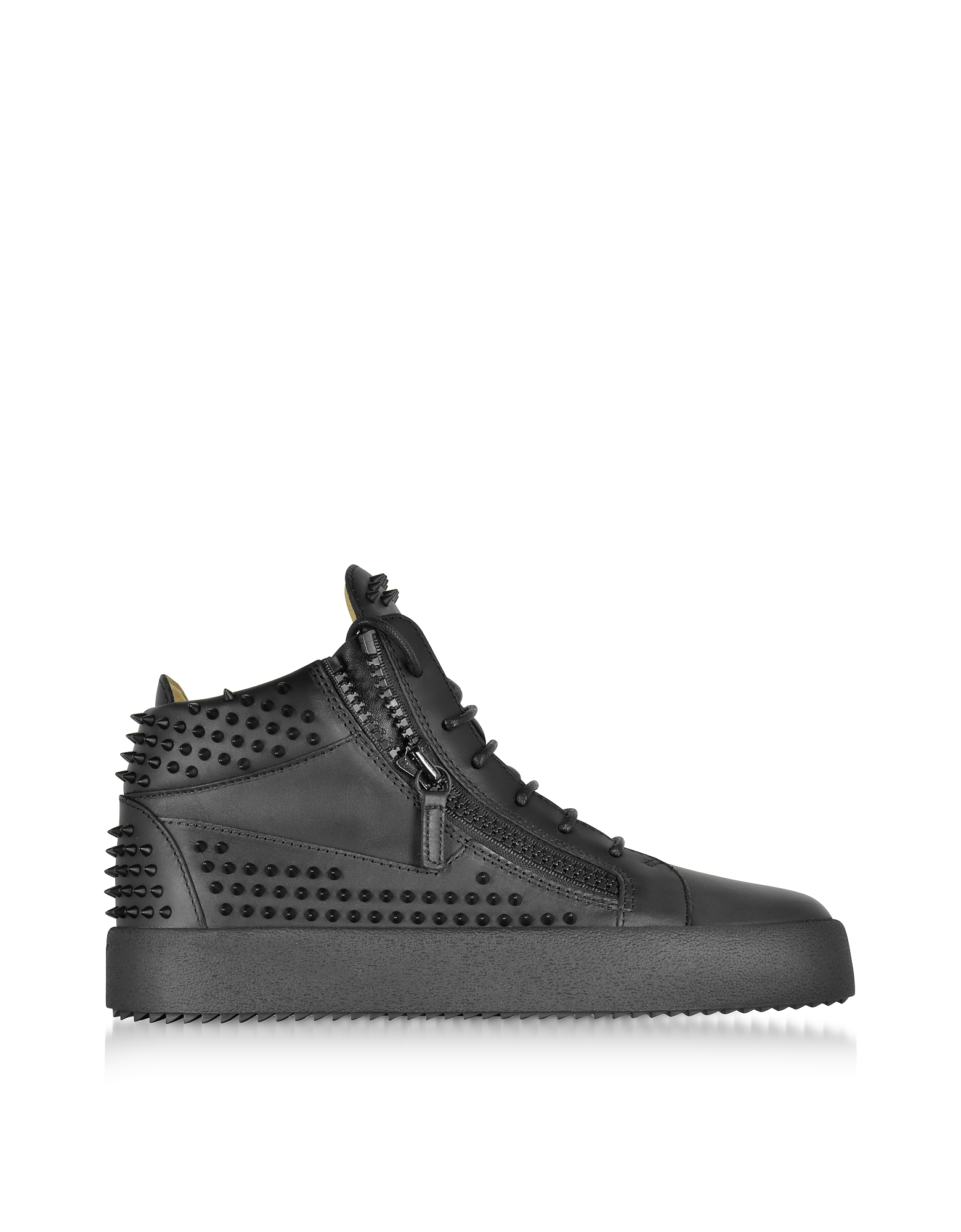 Giuseppe Zanotti Shoes, Black Studded Leather High Top Sneakers