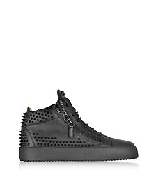 Black Studded Leather High Top Sneakers - Giuseppe Zanotti