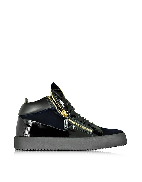 Foto Giuseppe Zanotti Sneaker da Donna in Vernice Nera e Velluto Blu Scarpe