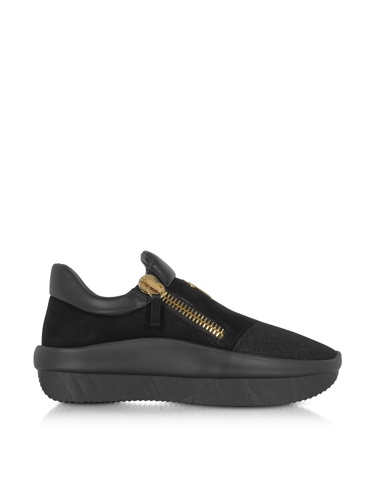 Giuseppe Zanotti Shoes, Black Perforated Fabric and Suede Low Top Men's Sneakers