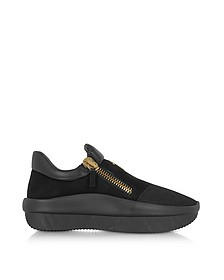 Black Perforated Fabric and Suede Low Top Men's Sneakers - Giuseppe Zanotti