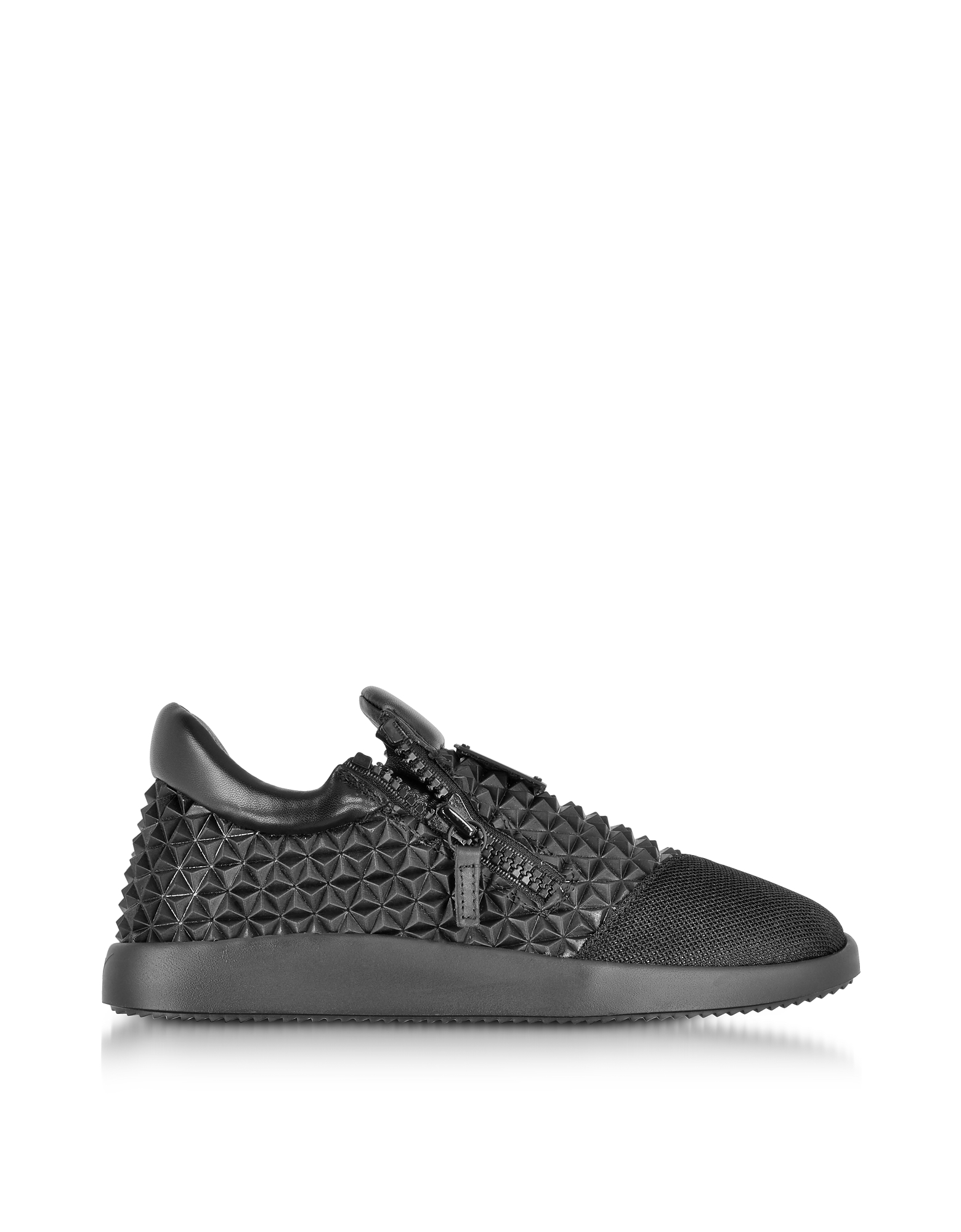 Giuseppe Zanotti Shoes, Black Studded Leather Low Top Sneakers