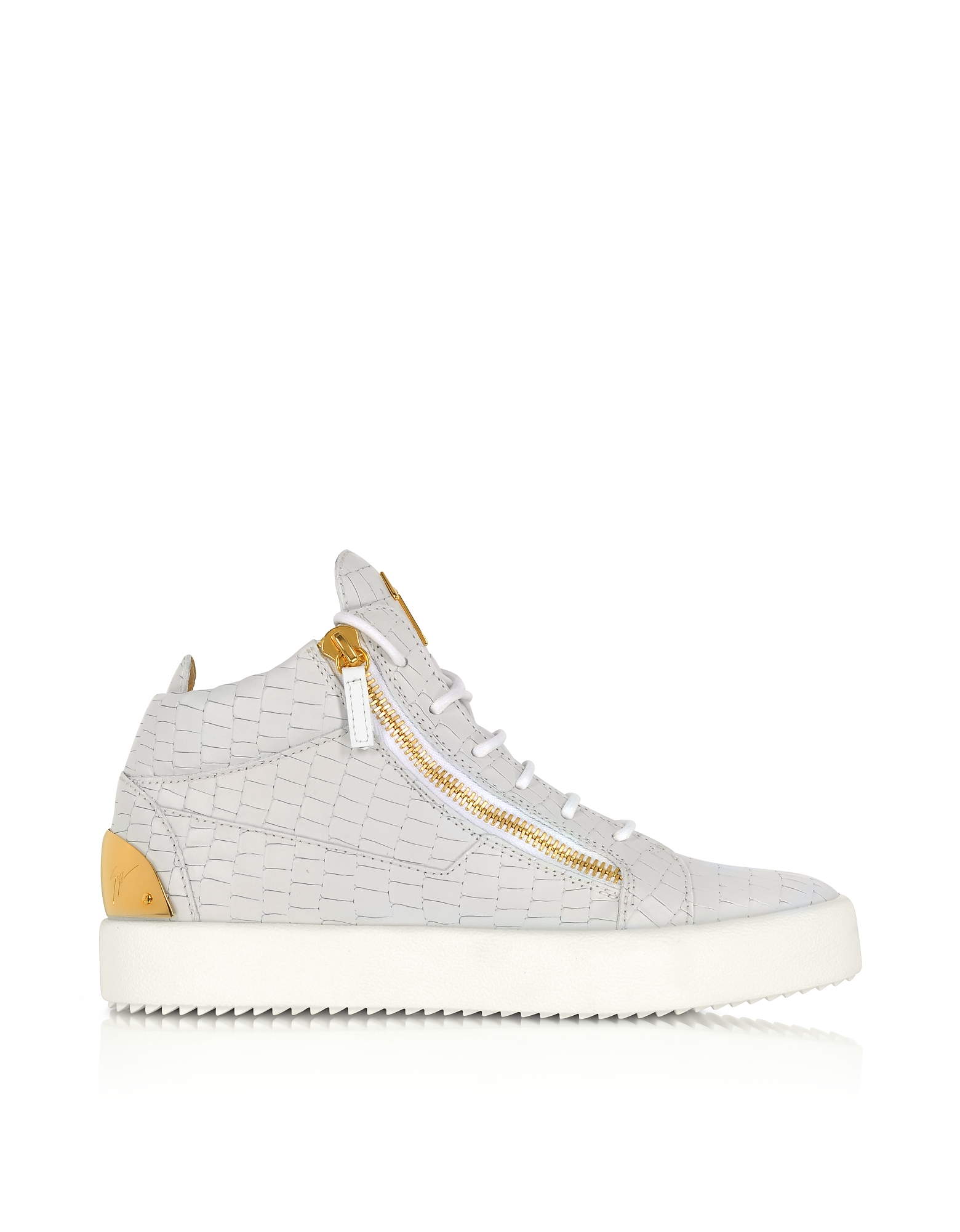 Giuseppe Zanotti Shoes, Kriss White Croco Embossed Mid-Top Sneaker