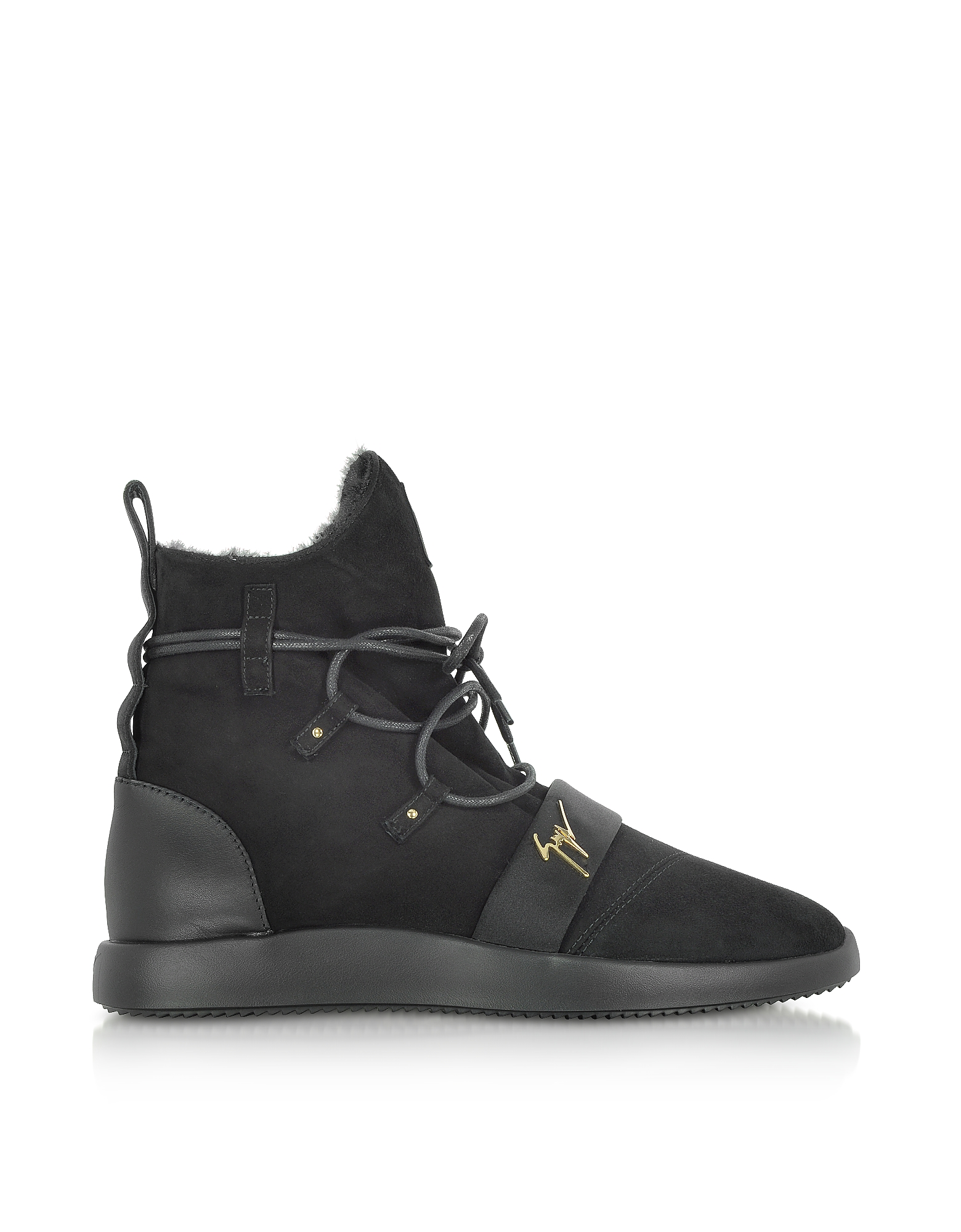 Giuseppe Zanotti Shoes, Black Suede High Top Sneakers