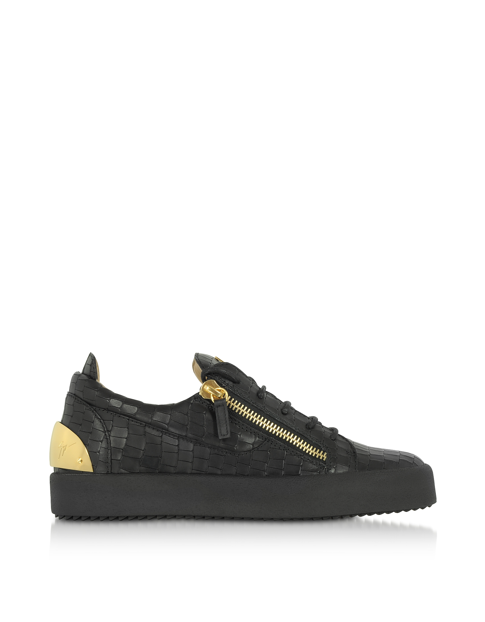 Giuseppe Zanotti Shoes, Black Embossed Croco Leather Low Top Men's Sneakers
