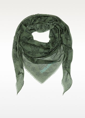 Mini Kerry Wolf Modal Triangle Scarf - Zadig & Voltaire