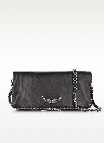Rock Black Leather Clutch w/Shoulder Strap - Zadig & Voltaire