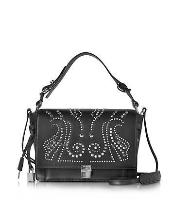 Studded Black Leather Optimist Shoulder Bag