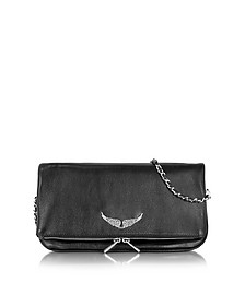 Black Grainy Leather Rock Clutch - Zadig & Voltaire