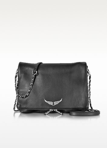 Black Grainy Leather Rock XL Clutch - Zadig & Voltaire