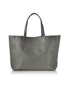 Gray and Cobalt Blue Leather Reversible Hendrix Tote Bag - Zadig & Voltaire