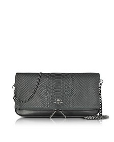 Black Embossed Leather Rock Cobra Clutch - Zadig & Voltaire