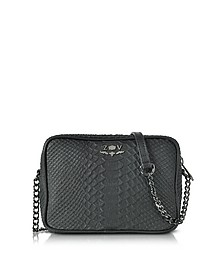 Black Embossed Leather Boxy Cobra Crossbody Bag - Zadig & Voltaire