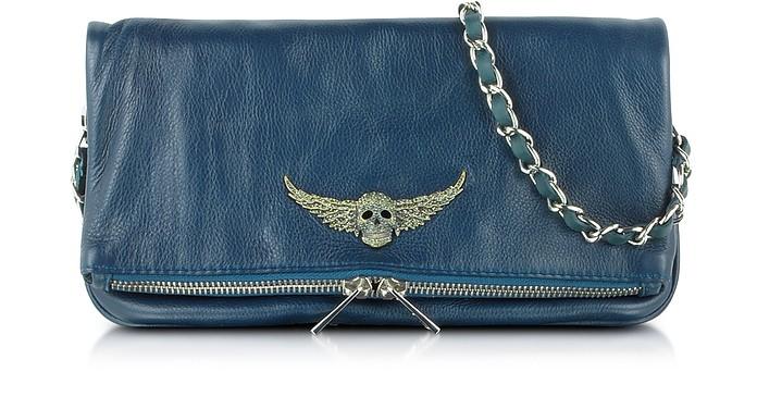 Rock Petrol Blue Leather Clutch w/Shoulder Strap - Zadig & Voltaire