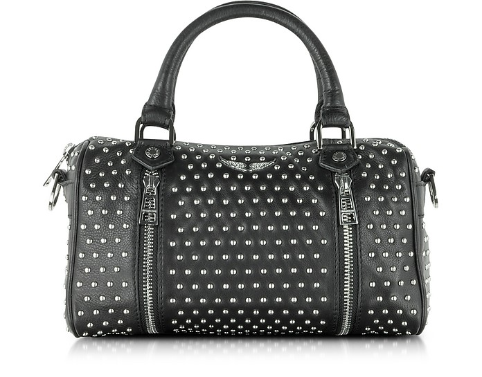 XS Sunny Studs Black Leather Satchel w/Shoulder Strap - Zadig & Voltaire