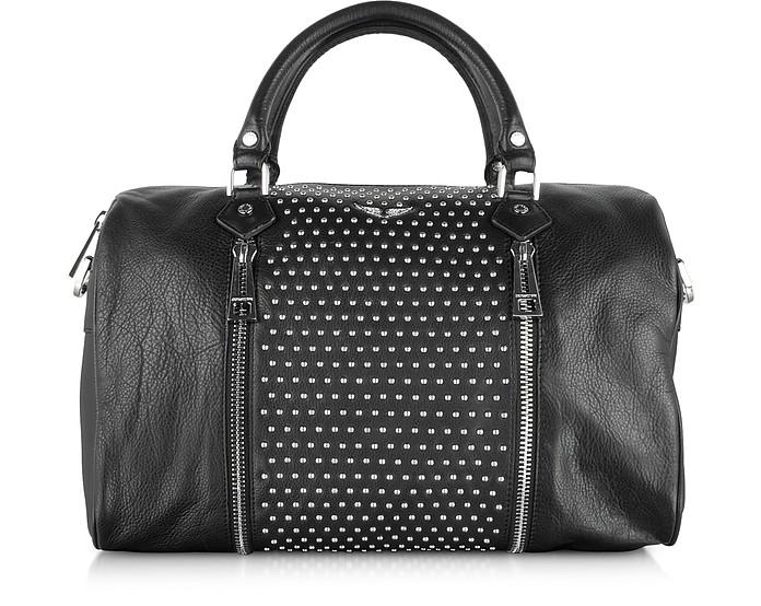 Sunny Studs Black Leather Large Satchel w/Shoulder Strap - Zadig & Voltaire