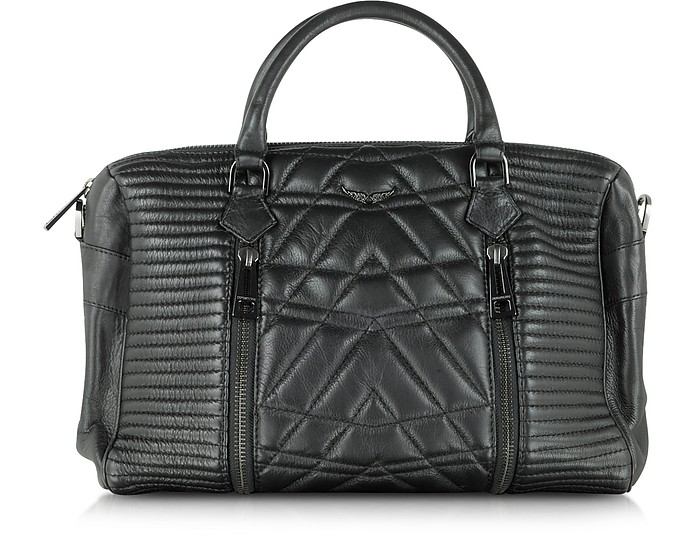 Sunny Black Quilted Leather Satchel w/Shoulder Strap - Zadig & Voltaire