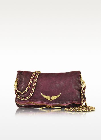 Rock Deep Dye Lilas Leather Foldable Clutch - Zadig & Voltaire