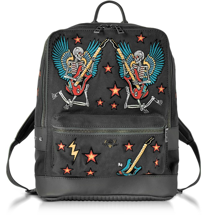 Arizona Broderie Elephant Gray Canvas Backpack - Zadig & Voltaire