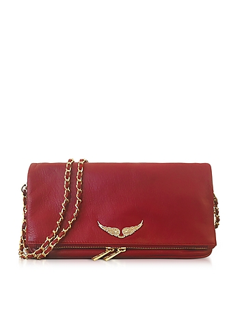Zadig & Voltaire - Garnet Red Leather Foldable Rock Clutch