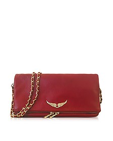 Garnet Red Leather Foldable Rock Clutch - Zadig & Voltaire