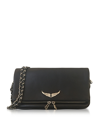 Black Leather Foldable Rock Clutch