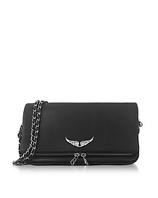 Black Leather Foldable Rock Clutch - Zadig & Voltaire