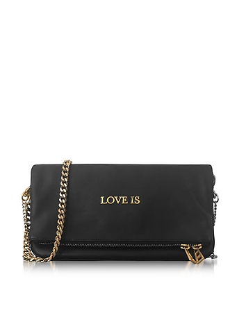 Zadig & Voltaire - Black Leather Rock Words Foldable Clutch